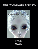 Fairy face, face mold, Silicone face mould, ooak fairy, ooak polymer, fimo, sculpey, Free shipping